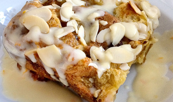 EGG NOG PANETONNE BREAD PUDDING