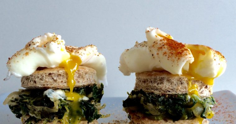 POACHED EGGS WITH SPINACH AND FETA