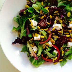 ROASTED RED PEPPERS & GOAT CHEESE SALAD WITH BASIL DRESSING