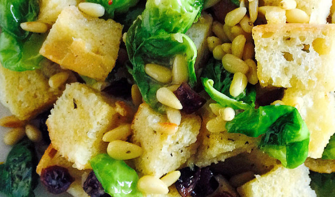 CROUTON SALAD WITH ROASTED BRUSSELS SPROUTS