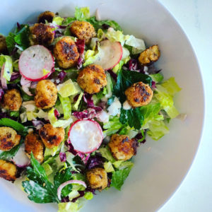 SPICY CAESAR SALAD WITH CHICKEN CROUTONS