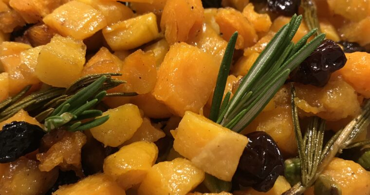 BUTTERNUT SQUASH WITH CHERRIES & PISTACHIOS