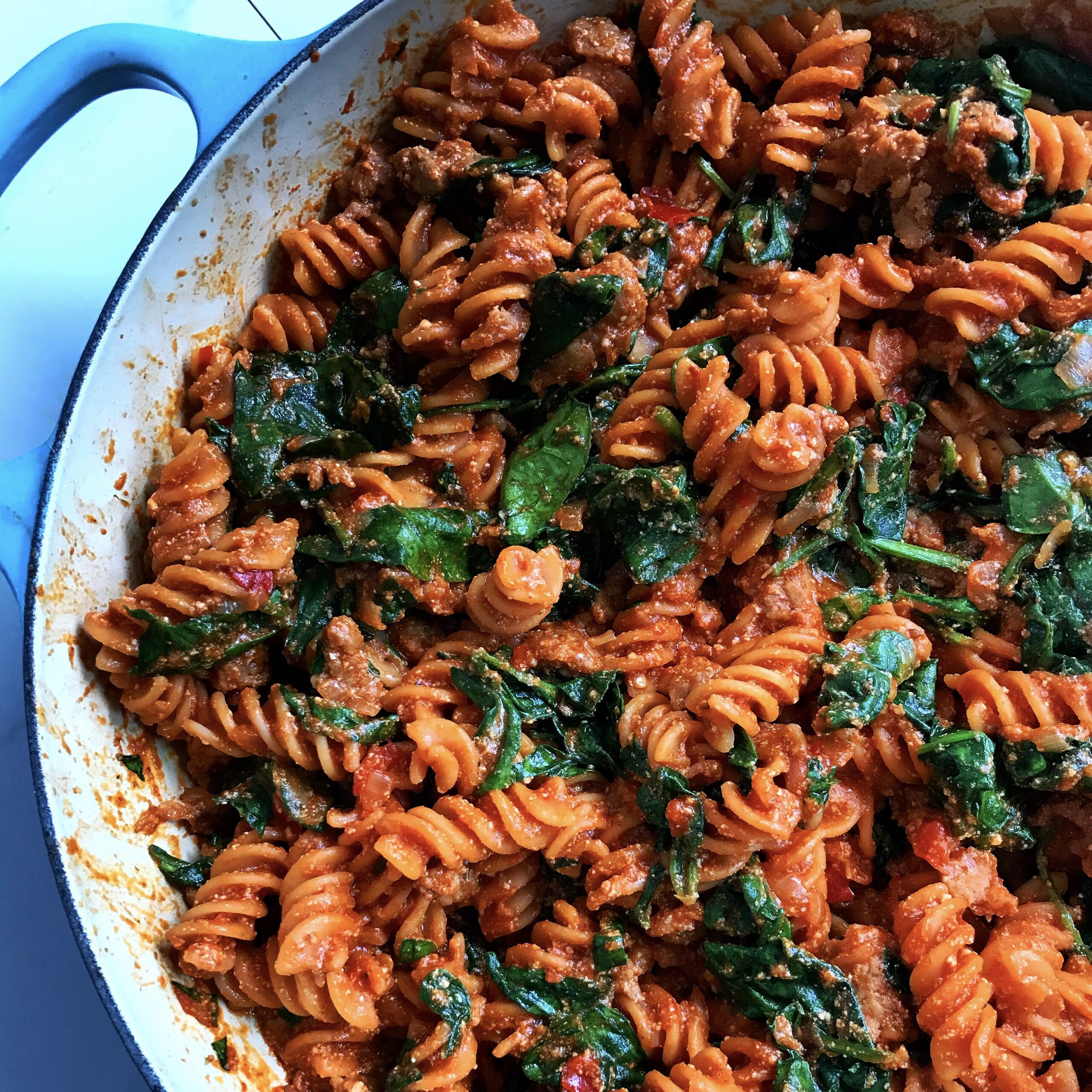 RED LENTIL PASTA WITH SAUSAGE